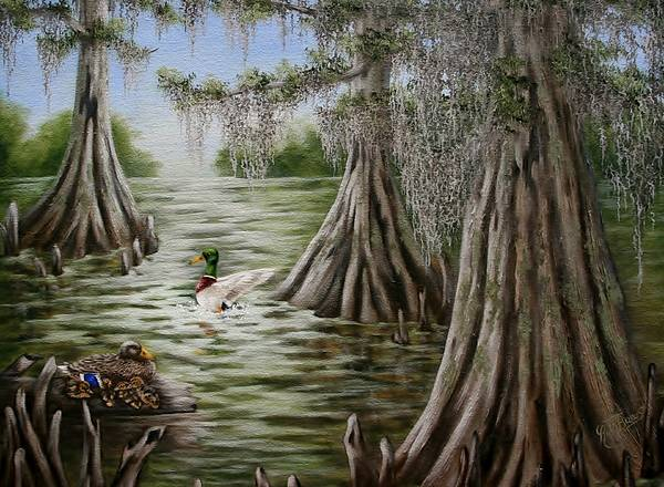 Mallards Poster featuring the painting Mallards by Ruth Bares