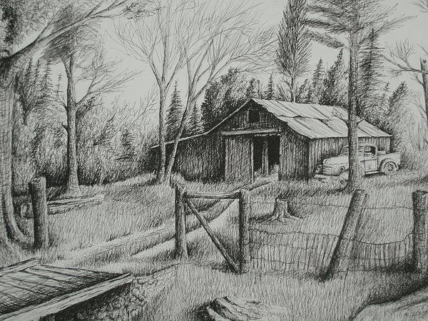 Rocks Poster featuring the drawing Ma's Barn And Truck by Chris Shepherd