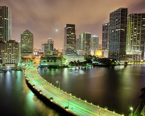 Horizontal Poster featuring the photograph Miami Skyline At Night by Steve Whiston - Fallen Log Photography