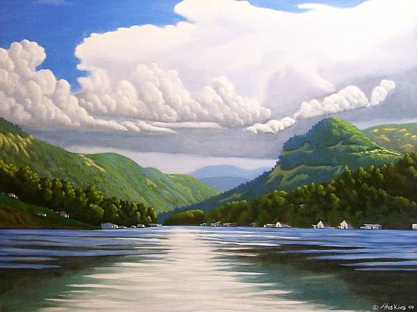 Landscapes Poster featuring the painting Off The Boat by Larry Hoskins