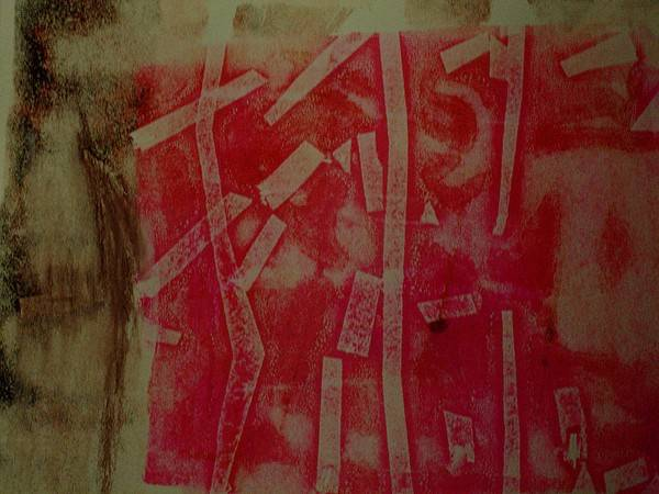 Pink Poster featuring the mixed media Pink Monotype by Susan Grissom