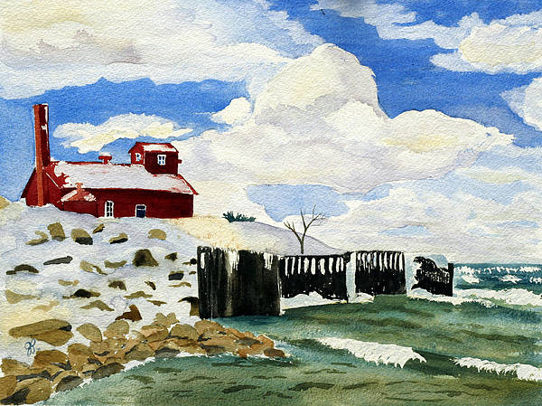 Landscape Poster featuring the painting Pt Betsie by Julie Pflanzer