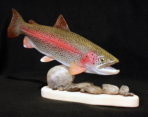 Salmon Poster featuring the sculpture Rainbow Trout On The Rocks by Eric Knowlton