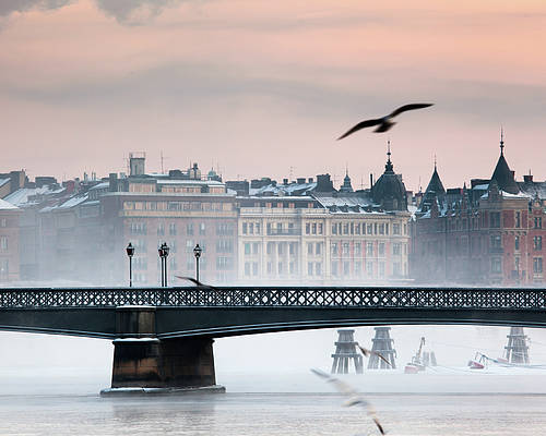 Horizontal Poster featuring the photograph Skeppsholmsbron, Stockholm by Hannes Runelöf