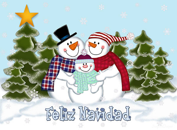 Snowman Family Christmas Card Feliz Navidad Poster By Linda Allan