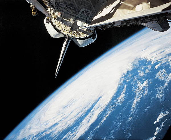 Horizontal Poster featuring the photograph Space Shuttle In Outer Space by Stockbyte