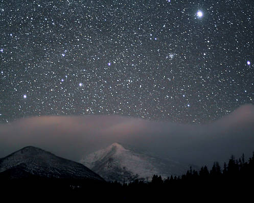 Horizontal Poster featuring the photograph Stars Over Rocky Mountain National Park by Pat Gaines
