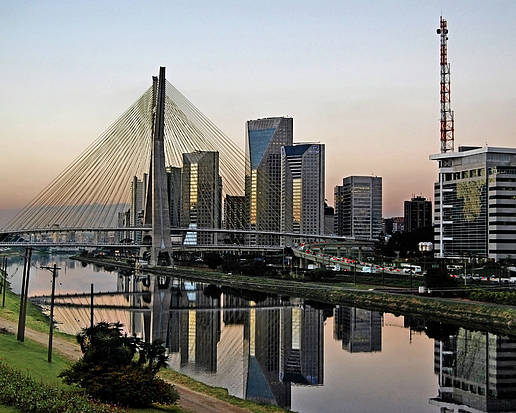 Horizontal Poster featuring the photograph Stayed Bridge And Modern Sao Paulo Skyline by Carlos Alkmin