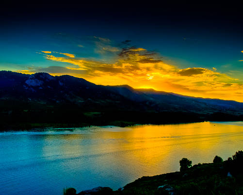 Sunset Poster featuring the photograph Sunset At Horsetooth Reservoir by Harry Strharsky