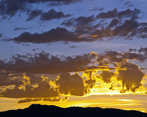 Fort Collins Poster featuring the photograph Sunset Over Horsetooth Rock by Harry Strharsky