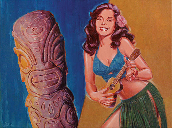 Tiki Poster featuring the painting Tiki Tarts- I Love Nobody But Uke Baby by Shawn Shea