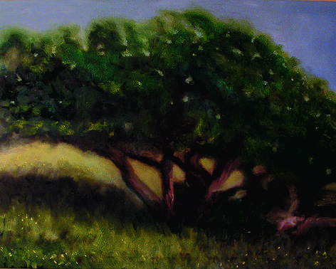 Green Poster featuring the painting Tree by John Busuttil Leaver