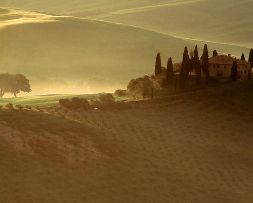 Italy Poster featuring the photograph Tuscan Farmouse In Morning Mist by Andrew Soundarajan