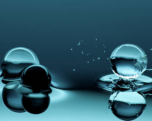 Horizontal Poster featuring the photograph Water Balls by Alex Koloskov Photography