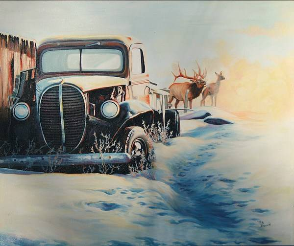 Antique Car Poster featuring the painting Morning Rays by Ma Brown Robbins