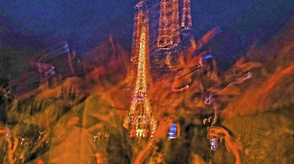 Paris Poster featuring the photograph Eiffel On Bastille Day Abstract by Tony Grider