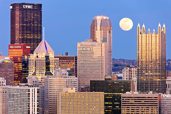 Steelers Poster featuring the photograph Moon Over Pittsburgh 2 by Emmanuel Panagiotakis