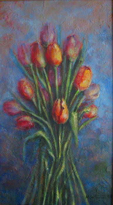 Red Poster featuring the painting Tulips by Mirjana Gotovac