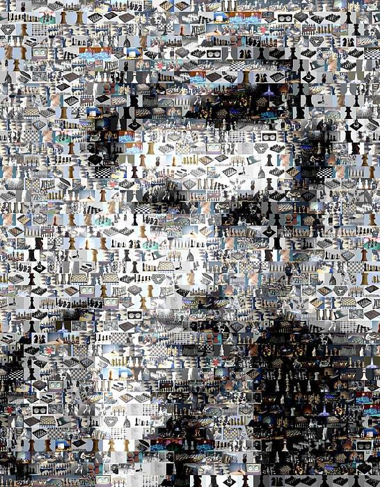 Chess Poster featuring the digital art Bobby Fischer Chess Mosaic by Paul Van Scott