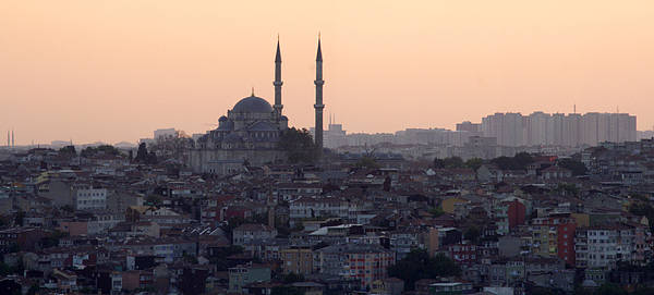 Horizontal Poster featuring the photograph Istanbul Cityscape At Sunset by Terje Langeland