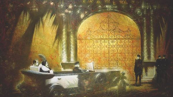 Figures Poster featuring the painting Gate To Hollywood by Andrej Vystropov
