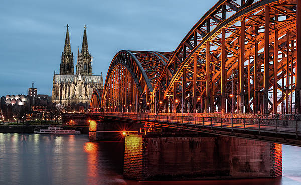 Horizontal Poster featuring the photograph Cologne Cathedral At Dusk by Vulture Labs