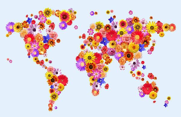 World Map Poster featuring the digital art Flower World Map by Michael Tompsett