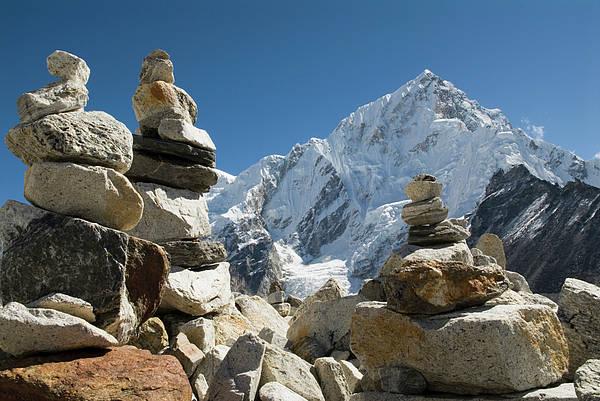 Horizontal Poster featuring the photograph Rock Piles In The Himalayas by Shanna Baker