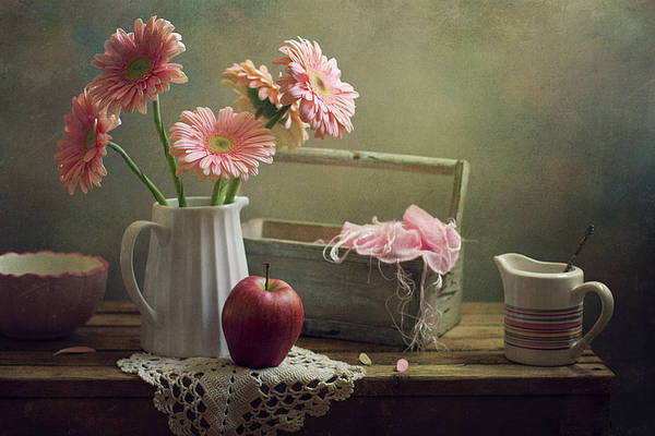 Horizontal Poster featuring the photograph Still Life With Pink Gerberas And Red Apple by Copyright Anna Nemoy(Xaomena)