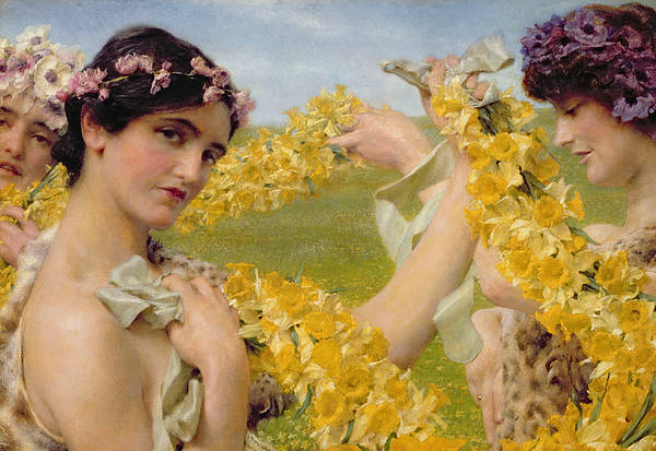 When Flowers Return Poster featuring the painting When Flowers Return by Sir Lawrence Alma-Tadema