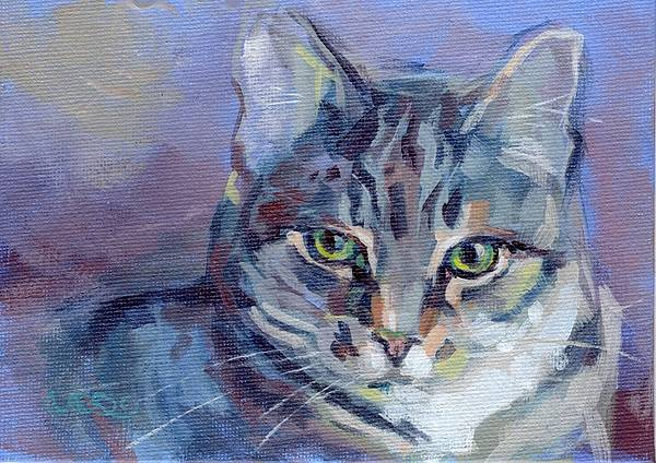 Tabby Cat Poster featuring the painting Green Eyed Tabby - Thomasina by Kimberly Santini
