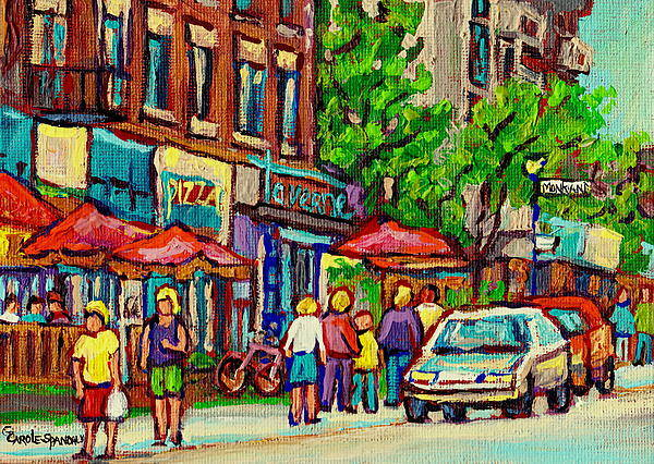 Montreal Poster featuring the painting Monkland Tavern Corner Old Orchard Montreal Street Scene Painting by Carole Spandau