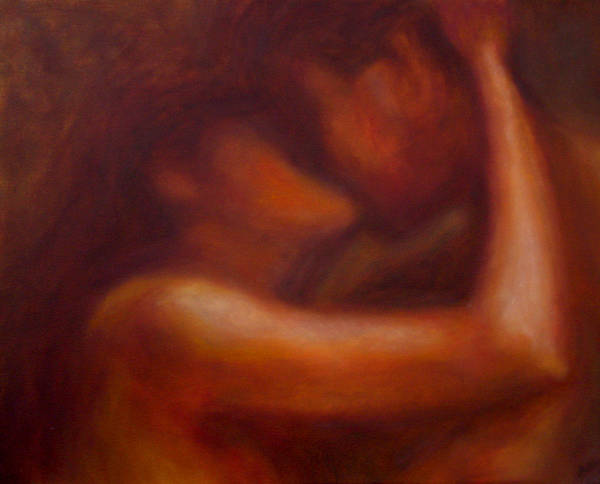 Couple Poster featuring the painting Kiss by Ann Moeller Steverson