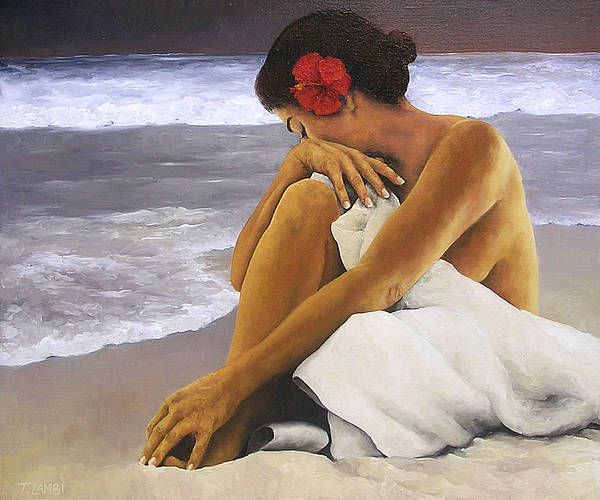 Nude Poster featuring the painting Hibiscus Dreaming by Trisha Lambi