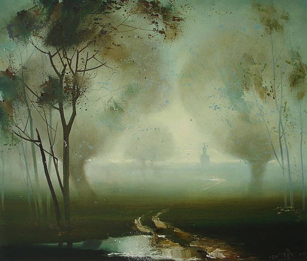 Landscape Poster featuring the painting Road by Andrej Vystropov