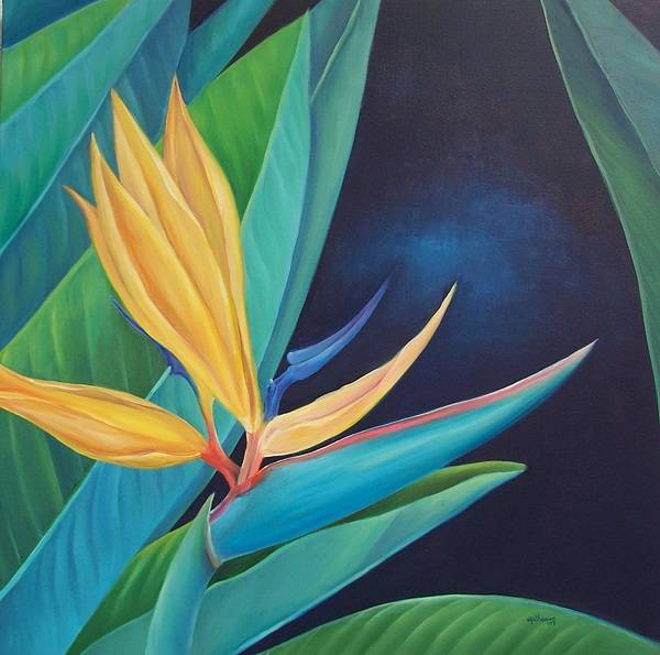 Flower Poster featuring the painting Bird Of Paradise by Elsa Gallegos