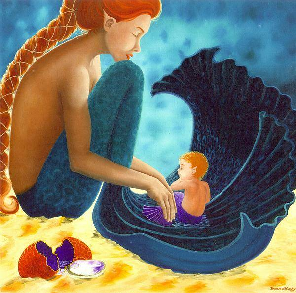 Mermaid Art Poster featuring the painting Mother And Child by Brenda Ellis Sauro
