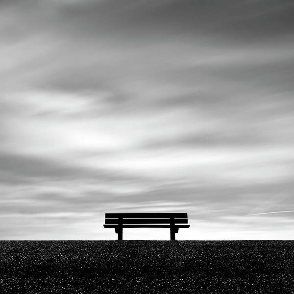 Square Poster featuring the photograph Bench, Long Exposure by Kees Smans