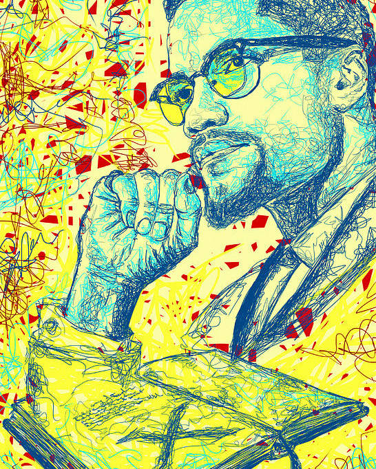 Malcolm X Drawing In Lines Poster featuring the digital art Malcolm X Drawing In Lines by Kenal Louis