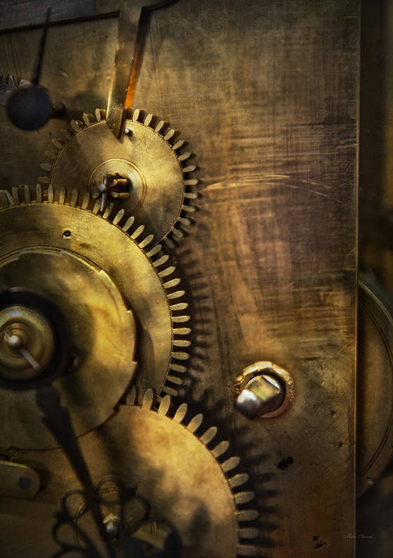 Clock Poster featuring the photograph Steampunk - Toothy by Mike Savad