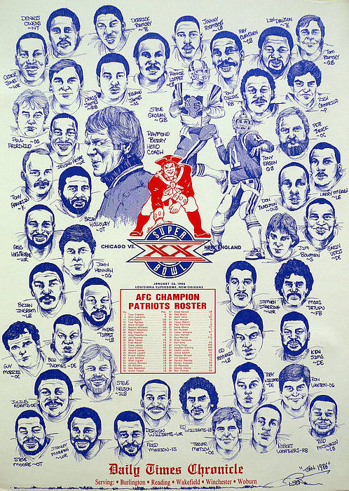 Nfl Poster featuring the drawing 1985 New England Patriots Superbowl Newspaper Poster by Dave Olsen