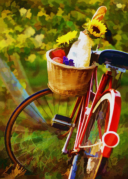 Wine Poster featuring the painting A Loaf Of Bread A Jug Of Wine And A Bike by Elaine Plesser