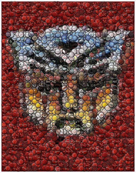 Transformers Poster featuring the digital art Autobot Transformer Bottle Cap Mosaic by Paul Van Scott