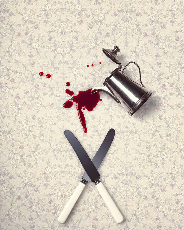 Knife Poster featuring the photograph Bloody Dining Table by Joana Kruse