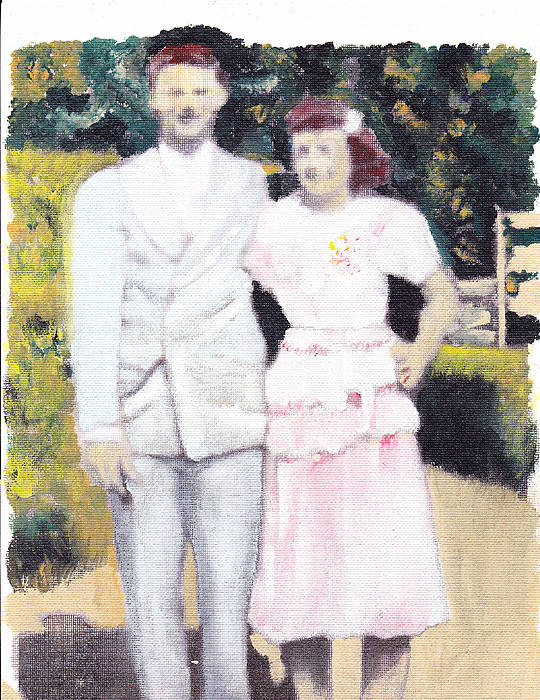 Wedding Poster featuring the painting Caits Mom And Dad by David Poyant
