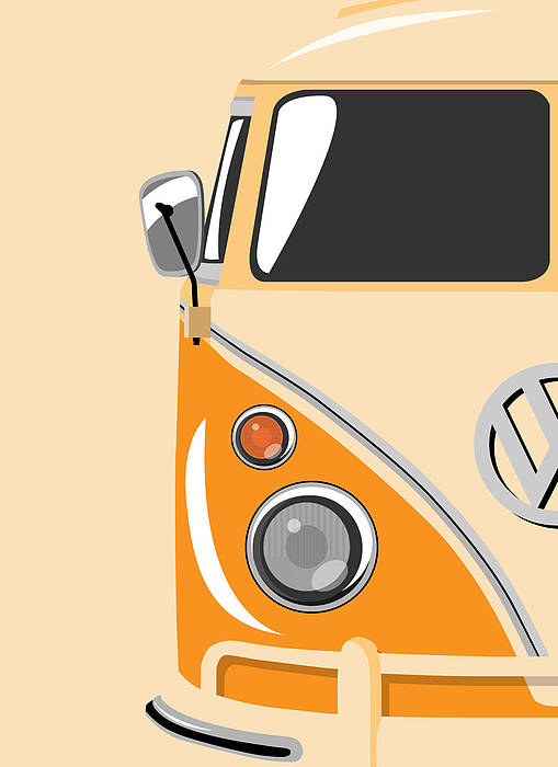 Vw Camper Van Poster featuring the digital art Camper Orange by Michael Tompsett