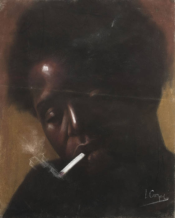 L Cooper Poster featuring the pastel Cigarette Smoker by L Cooper