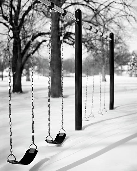 Vertical Poster featuring the photograph Deep Snow & Empty Swings After The Blizzard by Trina Dopp Photography