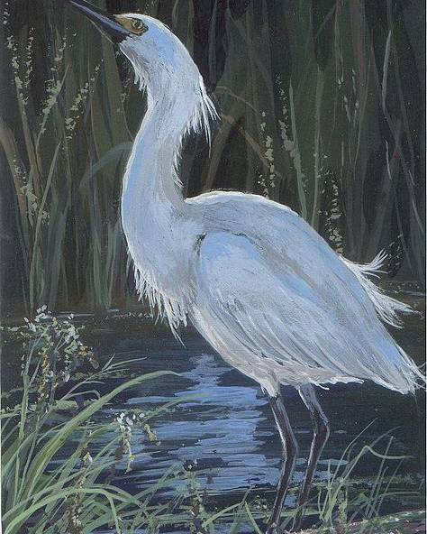 Egret Poster featuring the painting Egret by Peggy Conyers