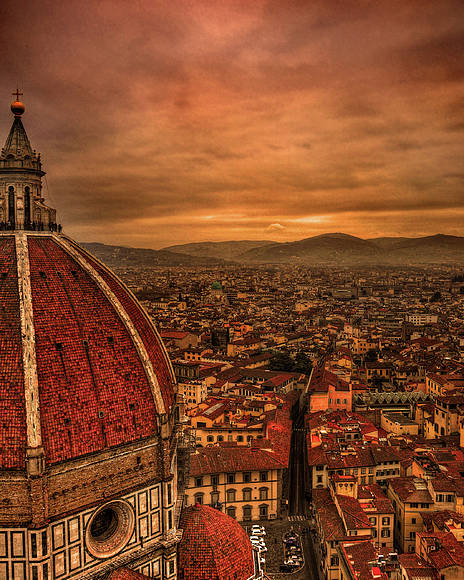 Vertical Poster featuring the photograph Florence Duomo At Sunset by McDonald P. Mirabile